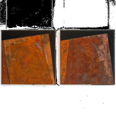 Schwarzer Canvas, Eisenfeilspäne, Graugusspulver - 80 x 80 cm, 2014 // Schwarzer Canvas, Eisenfeilspäne, Graugusspulver - 80 x 80 cm, 2014
