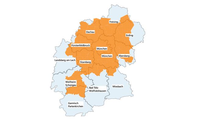 Einzugsgebiet nach Landkreisen