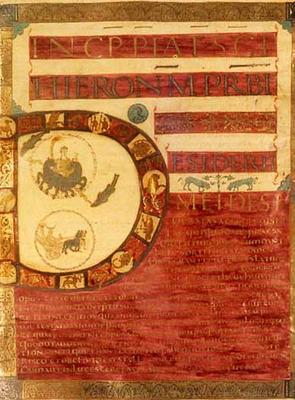 Lettrine D  Première Bible de Charles le Chauve. France, IXe siècle.