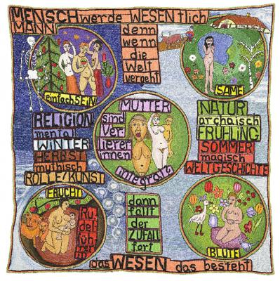 Goetze, Helga Sophia Mensch werde wesentlich [la personne devient essentielle], 1998 broderie 88 x 86 cm © crédit photographique Collection de l'Art Brut, Lausanne