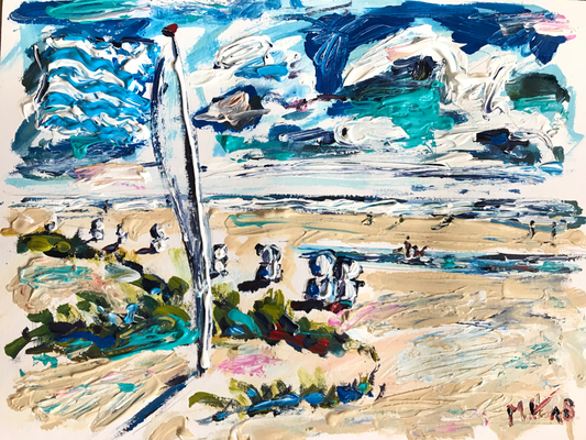 Am Strand/ Acryl auf Aquarellpapier/ 40 cm x 30 cm