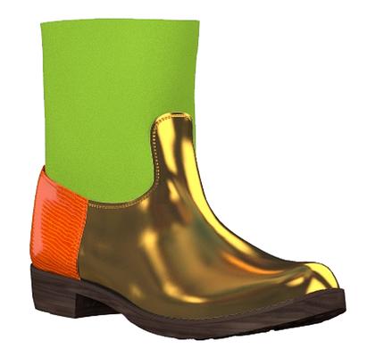 Modell 2 - gold grün orange - Bikerstiefel kurz