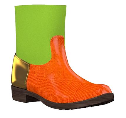 Modell 3 - orange grün gold - - Bikerstiefel kurz