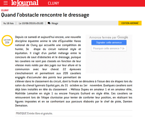 Article paru dans Le Journal de Saône et Loire le 10/06/18