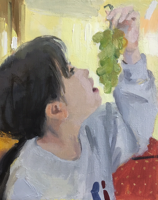 3号の油彩。もう少し描きます。