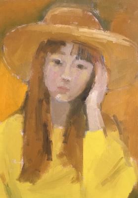 実際はもう少し背景が広い。ちょっとトリミング。黄色のセーターで帽子は大阪で買ったお気に入り。