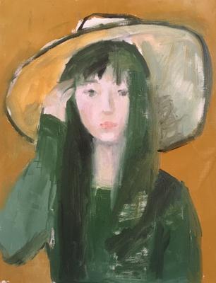 緑のセーターとつばの大きな帽子で描き始めました。