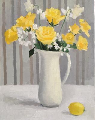 「黄色いバラ」F6 油彩 【個人蔵】