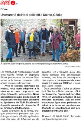 Article de Ouest France du 08.12.20