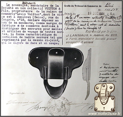 Louis Vuitton patent filing old trunk lock brass