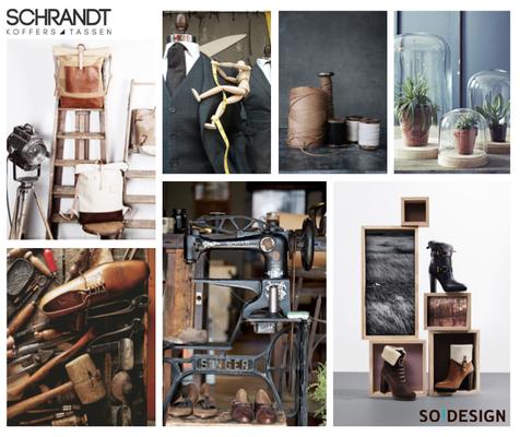 Retailstyling: Moodboards/ontwerp voor etalage Schrandt tassen en koffers Utrecht