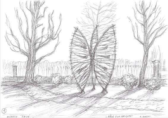 Rêve d'un papillon, dessin - Roman Gorski