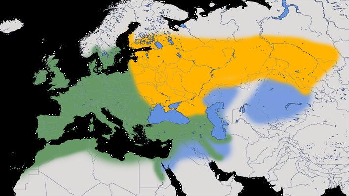 Karte zur Verbreitung des Stieglitzs (Carduelis carduelis)