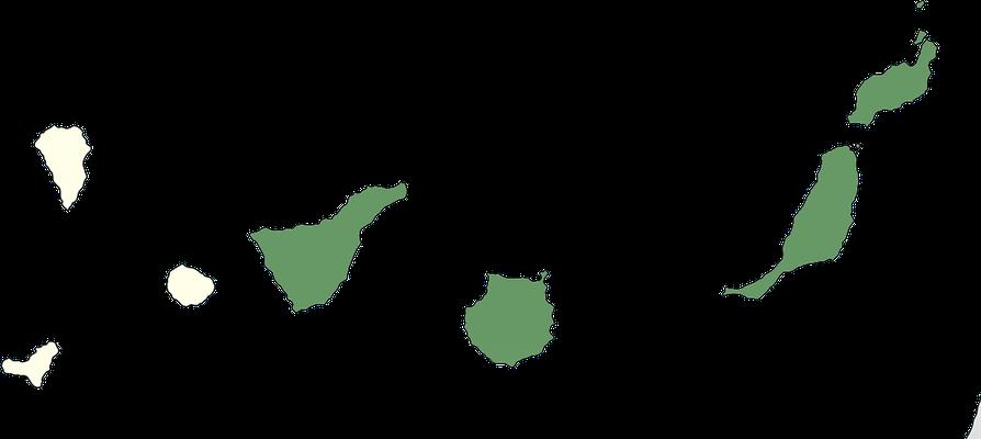 Karte zur Verbreitung des Kanarenraubwürgers (Lanius excubitor koenigi) auf den Kanarischen Inseln