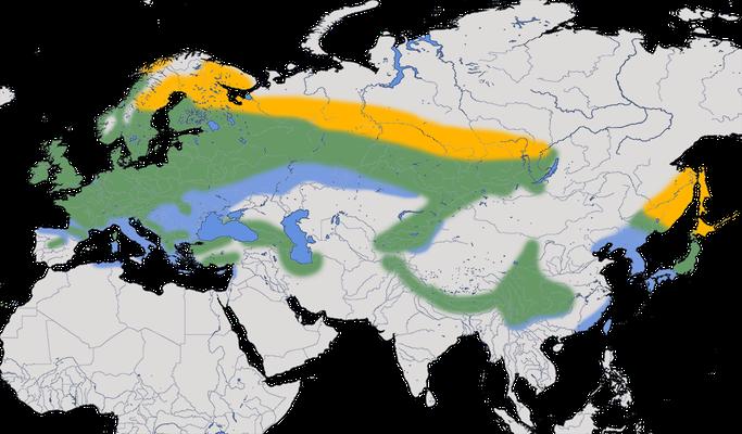 Karte zur Verbreitung des Wintergoldhähnchens (Regulus regulus)