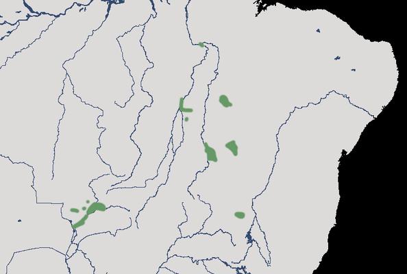 Karte zur Verbreitung des Rotbrustguans