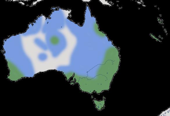 Karte zur Verbreitung des Graufächerschwanzes