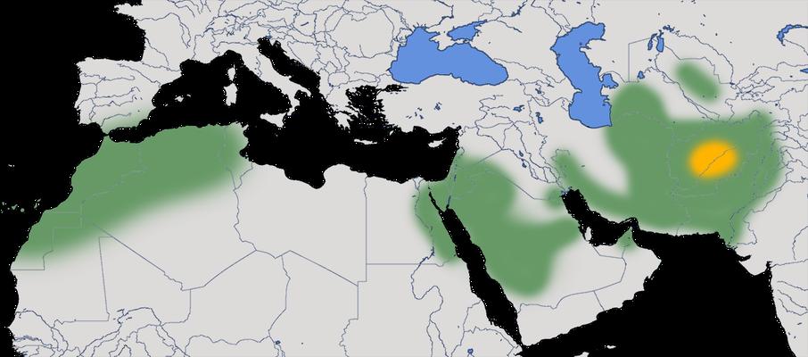 Karte zur Verbreitung des Wüstengimpels (Bucanetes githagineus).