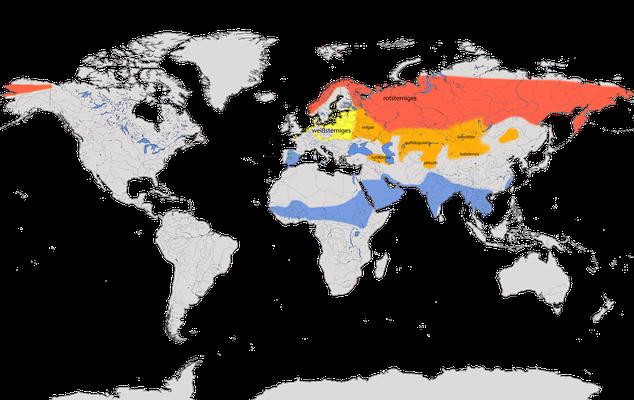 Karte zur Verbreitung des Blaukehlchens und der Unterarten weißsternig und rotsternig.