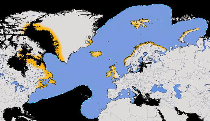 Karte zur Verbreitung des Papageitauchers