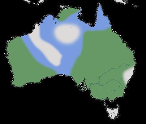 Karte zur Verbreitung des Emu