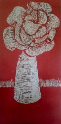 Blume // Holzschnitt 190x85
