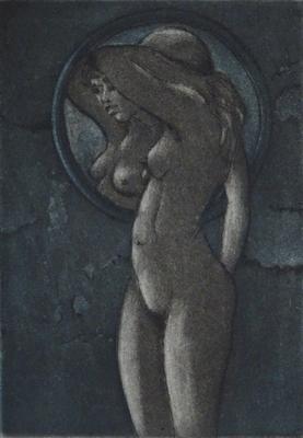 Vor dem Spiegel, Aquatinta zweifarbig 8.5x6
