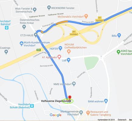 Anfahrtsplan von der Autobahn A1