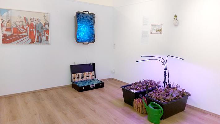 Teil der Mitgliederausstellung 2021 v.l.n.r. : Eli Kumpfhuber / Ferdinand / Juliane Leitner