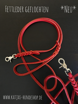 Fettleder Leine Rot mit Scherenkarabiner in silber