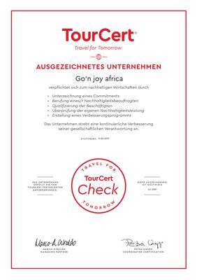 Zertifikat nachhaltige Reisen