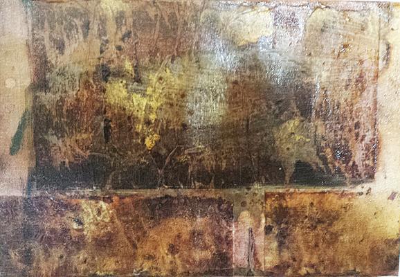 1 - Schellack, Ofenlack, Bäckerseide, auf Leinwand, 40 - 20 cm