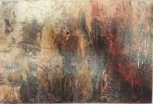 2 - Schellack, Ofenlack, Bäckerseide, auf Leinwand, 40 - 20 cm