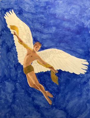FLYING AWAY  Oilpainting on canvas grain, ca. 21 x 28 cm