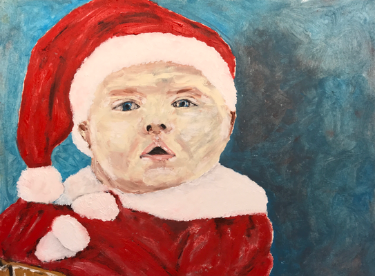 SANTA CLAUS  Oilpainting on canvas grain, ca. 21 x 28 cm