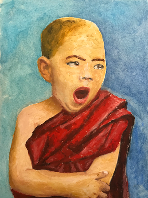 LITTLE TIRED MONK  Oilpainting on canvas grain, ca. 21 x 28 cm