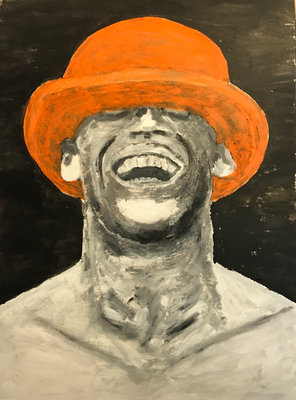 ORANGE HAT  Oilpainting on canvas grain, ca. 21 x 28 cm