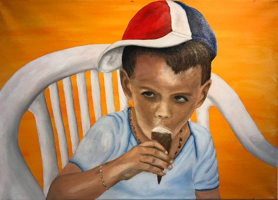 MY GODCHILD YANNIC  Oilpainting on canvas, ca. 40 x 60 cm