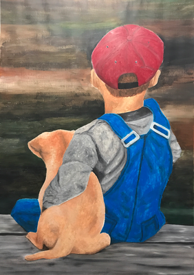 BOY WITH A PUPPY  oil painting ca. 50 x 70 cm