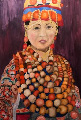 MISS NECKLACES  oil painting ca. 50 x 70 cm