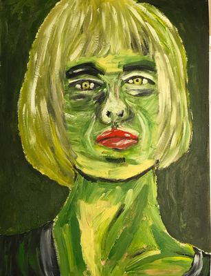 GREEN LADY  Oilpainting on canvas grain, ca. 21 x 28 cm