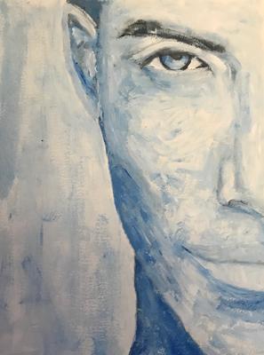 COLD AS ICE  on canvas grain, ca. 21 x 28 cm