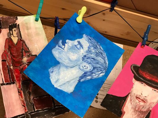 BLUE  Oilpainting on canvas grain, ca. 21 x 28 cm