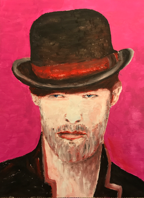 BLACK TOPHAT  Oilpainting on canvas grain, ca. 21 x 28 cm