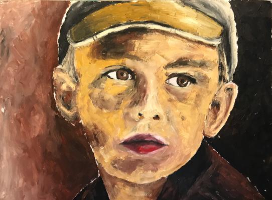 FARMER'S CHILD  Oilpainting on canvas grain, ca. 21 x 28 cm