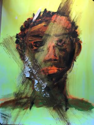 FACE  oil painting ca. 42 X 56 cm