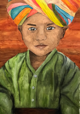 TURBAN BOY  oil painting ca. 50 x 70 cm