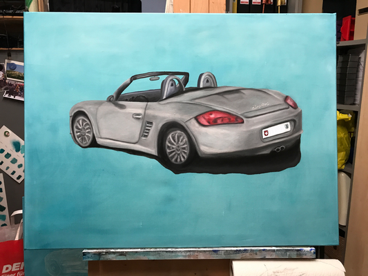 PORSCHE BOXTER  Costum work, oilpainting on canvas, ca. 60 x 80 cm