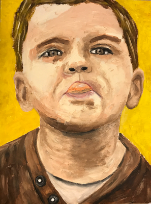 TONGUE POINTING  Oilpainting on canvas grain, ca. 21 x 28 cm