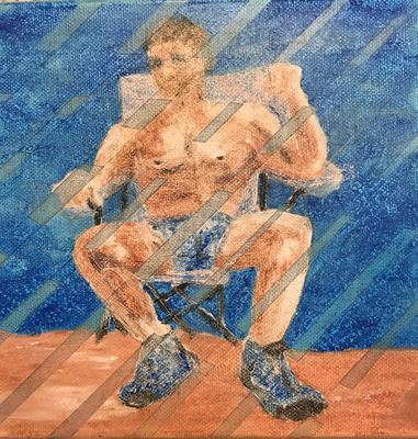 SUMMER AT THE BEACH  on canvas, ca. 20 x 20 cm